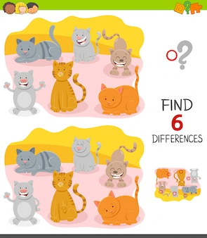 Differences game for children with happy cats