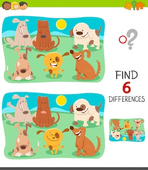 Differences game for children with happy dogs