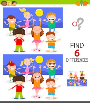 Differences game for children with happy kids group