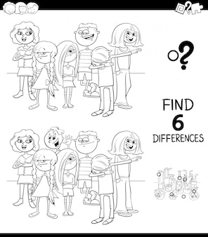 Differences game color book with kids group