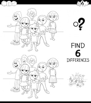 Differences game color book with teens