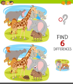 Differences game for kids with cartoon animals