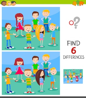 Differences game for kids with funny characters