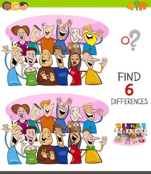 Differences game for kids with happy people group