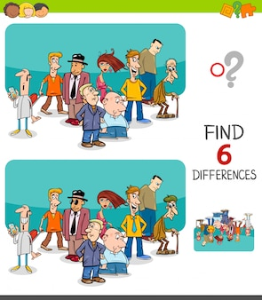 Differences game for kids with people characters