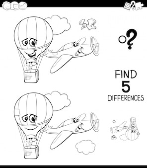Differences game for kids with plane and balloon