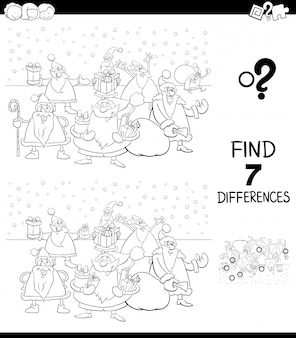 Differences game for kids with santa color book
