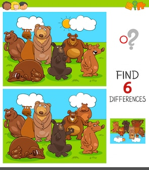 Differences game with bears animal characters