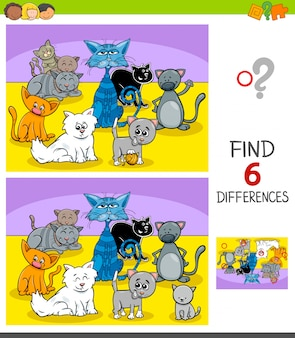 Differences game with cats animal characters