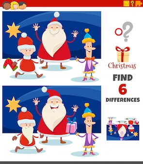 Differences game with christmas characters group