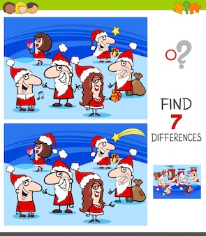 Differences game with christmas characters
