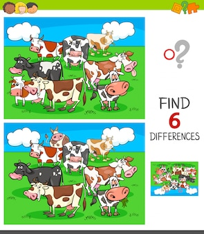 Differences game with cows animal characters