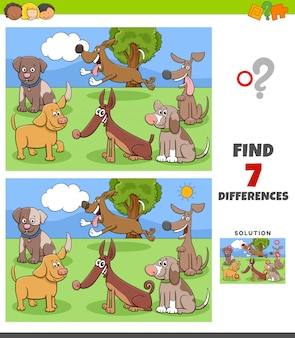 Differences game with dog characters group