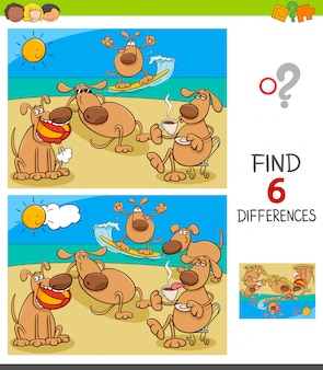 Differences game with dogs on holiday vacation