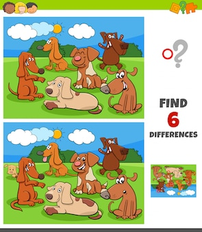 Differences game with dogs and puppies characters