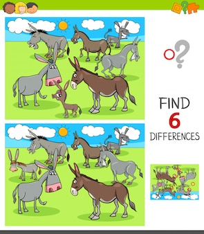 Differences game with donkeys animal characters