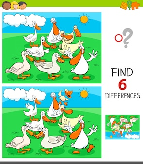 Differences game with ducks animal characters