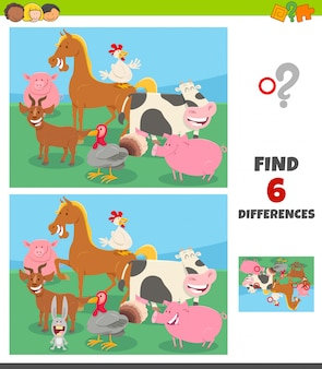 Differences game with farm animal characters group