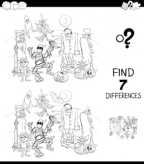 Differences game with halloween characters color book