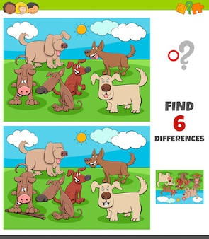 Differences game with happy dogs animal characters