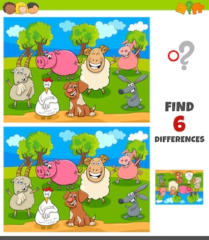 Differences game with happy farm animal characters