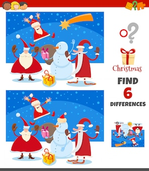 Differences game with happy santa claus characters