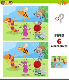 Differences game with insects animal characters group