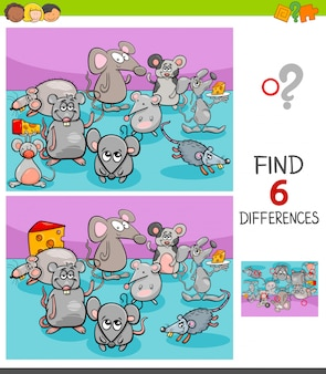 Differences game with mice animal characters