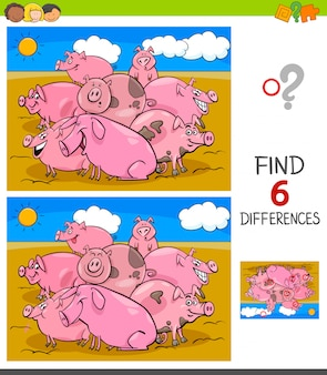 Differences game with pigs animal characters