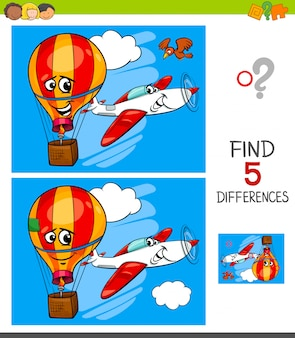 Differences game with plane and balloon