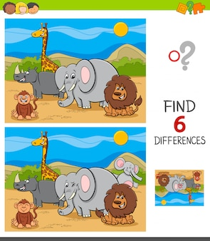 Differences game with safari animal characters