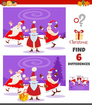 Differences game with santa claus characters group