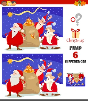 Differences game with santa claus christmas characters group