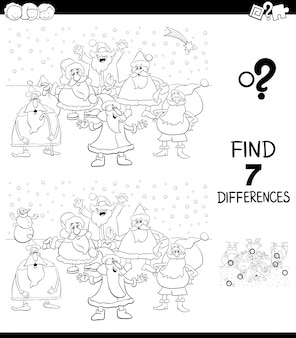 Differences game with santa coloring book