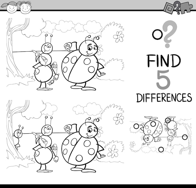 Differences task for coloring book