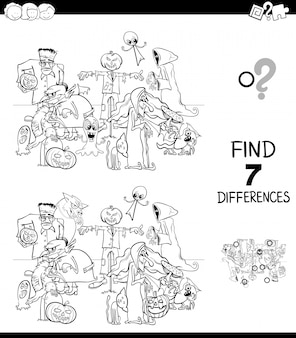 Differences with halloween characters coloring book