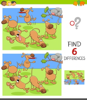 Differencesgame for children with happy dogs