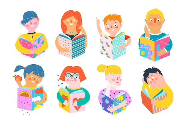 Different abstract people reading books happy smiling. colorful pop art men and women characters cartoon hand drawn in paper cut modern style.