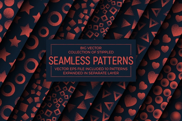 Different abstract stippled seamless patterns set