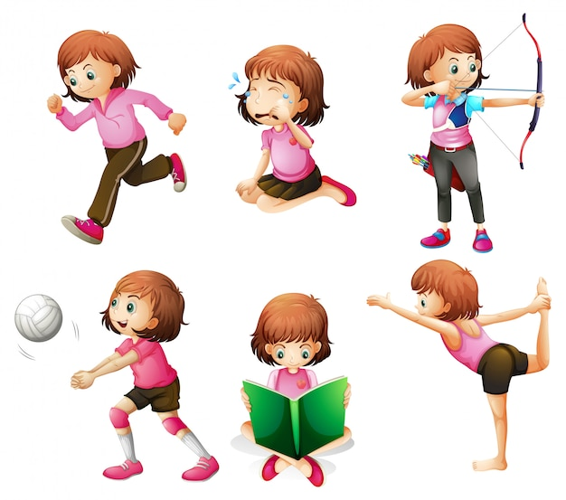 Different activities of a little lady