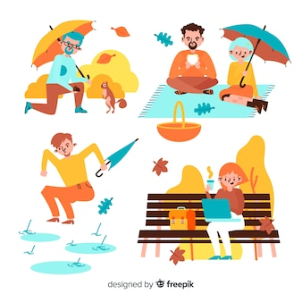 Different activities in the park on autumn illustration