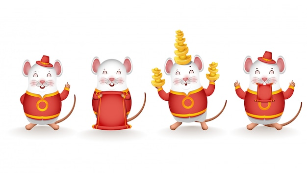 Different activity of cartoon rat holding chinese gold