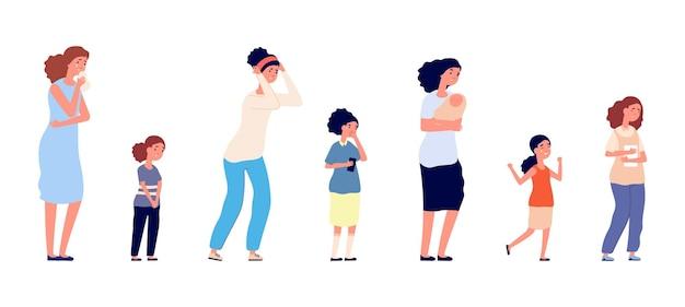 다른 연령대의 여성. 우울하고 고립된 슬픈 여성 캐릭터. 어린 아이, 십대, 성인 여성은 벡터 삽화를 울고 있습니다. 여자 슬픔, 혼자 사람 감정, 여성 걱정
