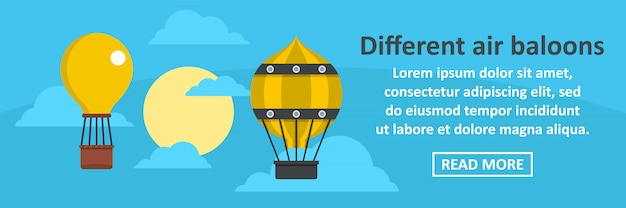 Different air balloons banner template horizontal concept