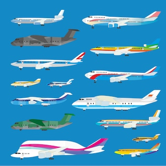 Different airplane aircraft set. personal airplane, cargo.
