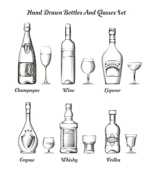 Different alcohol bottles and glasses