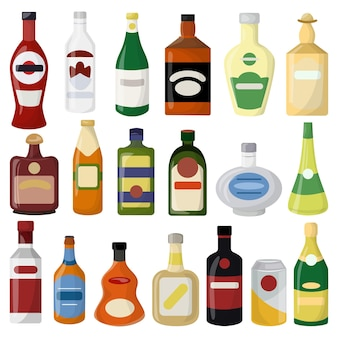 다른 알코올 음료 병 세트입니다. 맥주와 와인, 보드카와 진