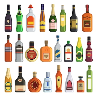 Different alcoholic drinks in bottles