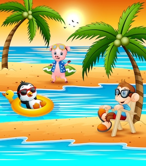Различный мультфильм животных отдыхать на пляже