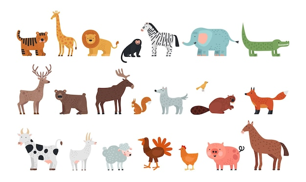 Different animals. farm savanna forest fauna, isolated wildlife characters. wolf tiger bear deer squirrel, fox and sheep vector illustration. african jungle, safari africa, different wild animals